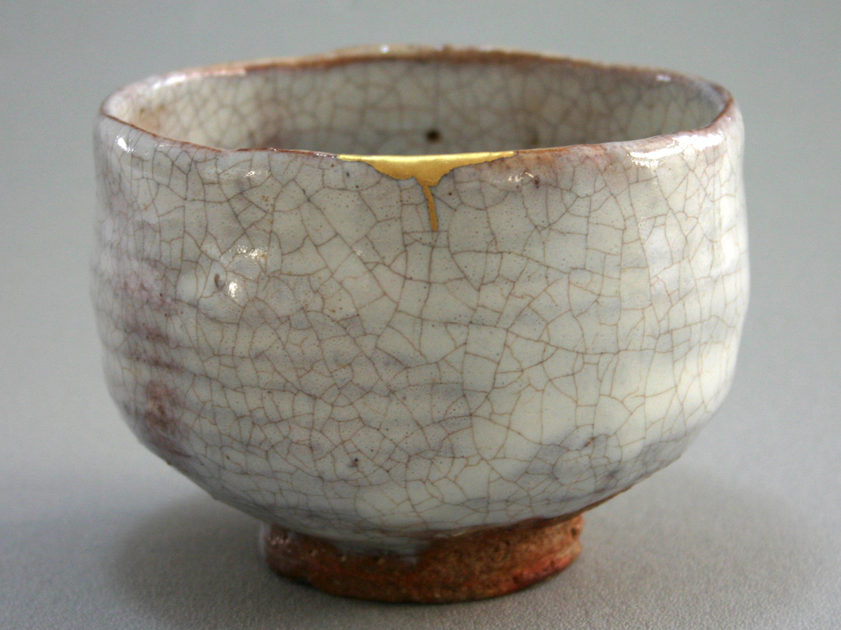raku matcha tea cup with kintsugi